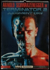 4j025 TERMINATOR 2 English calendar 1991 great full-page images of cyborg Arnold Schwarzenegger!