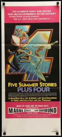 4k763 FIVE SUMMER STORIES PLUS FOUR Aust daybill 1976 really cool surfing artwork by Rick Griffin!