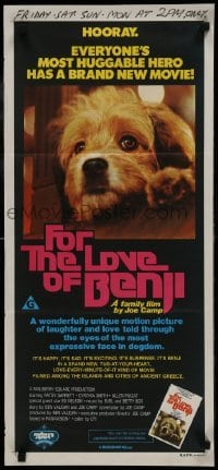 4k767 FOR THE LOVE OF BENJI Aust daybill 1977 Joe Camp directed, close-up of loveable dog!