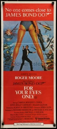 4k768 FOR YOUR EYES ONLY Aust daybill 1981 Roger Moore as James Bond, art by Brian Bysouth!