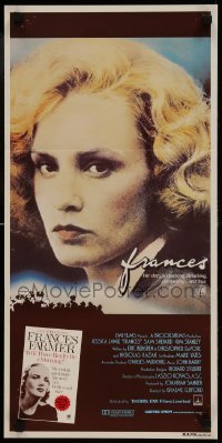 4k771 FRANCES Aust daybill 1982 great close-up of Jessica Lange as cult actress Frances Farmer!