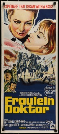 4k772 FRAULEIN DOKTOR Aust daybill 1969 Suzy Kendall, WWI, espionage that begins with a kiss!