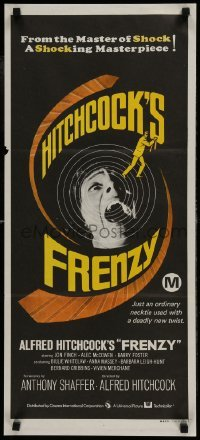 4k775 FRENZY Aust daybill 1972 written by Anthony Shaffer, Alfred Hitchcock's shocking masterpiece!