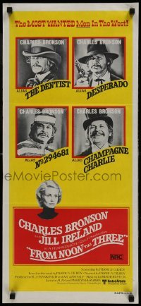4k776 FROM NOON TILL THREE Aust daybill 1976 4 great images of wanted Charles Bronson!