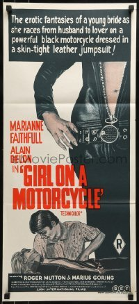 4k782 GIRL ON A MOTORCYCLE Aust daybill 1968 great images of sexy biker Marianne Faithfull & Delon!