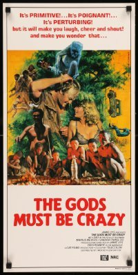 4k787 GODS MUST BE CRAZY Aust daybill 1984 Jamie Uys comedy about native African tribe, Mascii art!