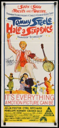 4k793 HALF A SIXPENCE Aust daybill 1967 art of smiling Tommy Steele with banjo, from H.G. Wells novel!