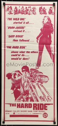 4k795 HARD RIDE Aust daybill 1971 AIP, Robert Fuller, Sherry Bain is more than most men can handle!