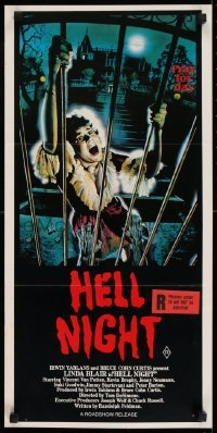 4k798 HELL NIGHT Aust daybill 1981 artwork of Linda Blair trying to escape haunted house by Jarvis!