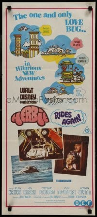 4k801 HERBIE RIDES AGAIN Aust daybill 1974 Disney, Volkswagen Beetle, Love Bug is doing his thing!