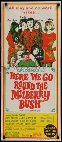 4k802 HERE WE GO ROUND THE MULBERRY BUSH Aust daybill 1968 Judy Geeson, Barry Evans, Angela Scoular!