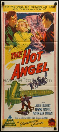 4k808 HOT ANGEL Aust daybill 1958 Richardson Studio artwork of teenage hot rod rebel gangs!