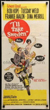 4k810 I'LL TAKE SWEDEN Aust daybill 1965 Bob Hope & Tuesday Weld, lots of sexy bikini babes, different!!