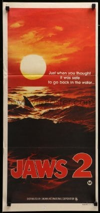 4k815 JAWS 2 teaser Aust daybill 1978 classic art of man-eating shark's fin in red water at sunset!