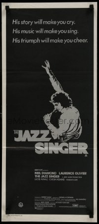4k816 JAZZ SINGER Aust daybill 1981 artwork of Neil Diamond singing into microphone, re-make!