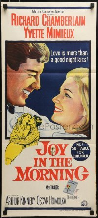 4k818 JOY IN THE MORNING Aust daybill 1965 best close up of Richard Chamberlain & Yvette Mimieux!