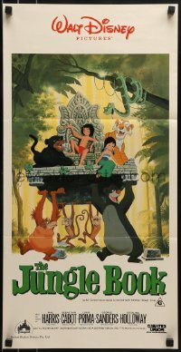 4k821 JUNGLE BOOK Aust daybill R1986 Walt Disney cartoon classic, great image of Mowgli & friends!