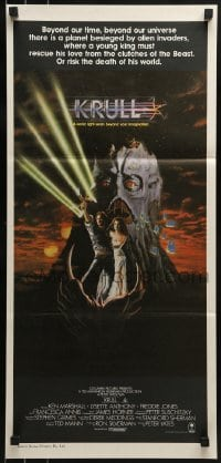 4k824 KRULL Aust daybill 1983 fantasy art of Ken Marshall & Lysette Anthony in monster's hand!