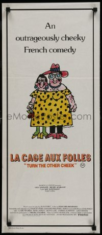 4k825 LA CAGE AUX FOLLES Aust daybill 1979 Ugo Tognazzi, great wacky cross-dressing art by Lou Myers!
