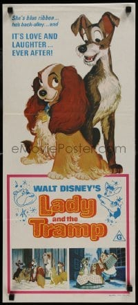 4k826 LADY & THE TRAMP Aust daybill R1975 Walt Disney romantic canine dog classic cartoon!