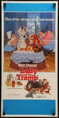 4k827 LADY & THE TRAMP Aust daybill R1980 Walt Disney romantic canine dog classic cartoon!