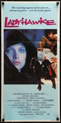 4k828 LADYHAWKE Aust daybill 1985 different image of Michelle Pfeiffer & young Matthew Broderick!