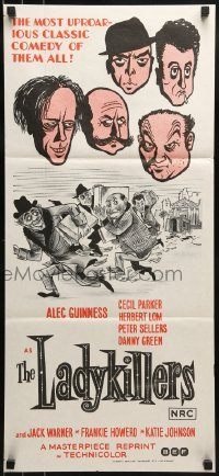 4k829 LADYKILLERS Aust daybill R1972 cool art of guiding genius Alec Guinness, gangsters!