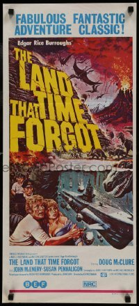 4k830 LAND THAT TIME FORGOT Aust daybill 1975 Edgar Rice Burroughs, cool Akimoto dinosaur art!