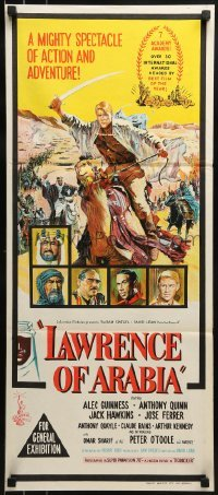 4k833 LAWRENCE OF ARABIA Aust daybill 1963 David Lean classic art of Peter O'Toole!
