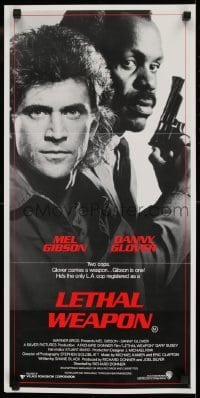 4k834 LETHAL WEAPON Aust daybill 1987 great close image of cop partners Mel Gibson & Danny Glover!