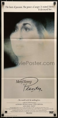 4k881 PLENTY Aust daybill 1985 super close up of Meryl Streep, the heat of passion destroyed her!