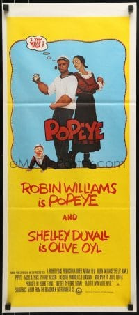 4k884 POPEYE Aust daybill 1980 Robert Altman, Robin Williams & Duvall as Segar's characters!