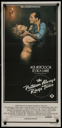 4k885 POSTMAN ALWAYS RINGS TWICE Aust daybill 1981 art of Jack Nicholson & Jessica Lange by Obrero!