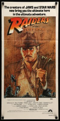 4k889 RAIDERS OF THE LOST ARK UIP Aust daybill 1981 art of adventurer Harrison Ford by Richard Amsel!