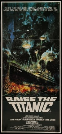 4k890 RAISE THE TITANIC Aust daybill 1980 Berkey art of ship being pulled from depths of the ocean!