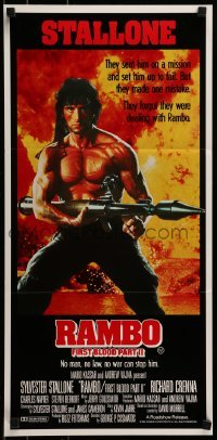 4k891 RAMBO FIRST BLOOD PART II Aust daybill 1985 no man, no law, no war can stop Stallone!