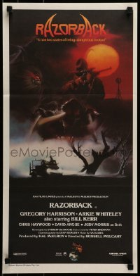 4k892 RAZORBACK Aust daybill 1984 Australian horror, cool artwork by Brian Clinton!