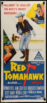 4k893 RED TOMAHAWK Aust daybill 1966 Redskin vengeance, prairie blazes with West's worst massacre!