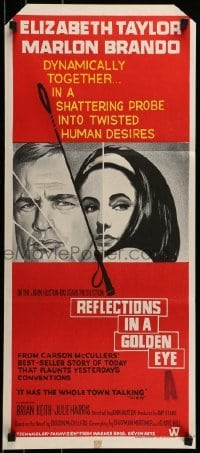 4k895 REFLECTIONS IN A GOLDEN EYE Aust daybill 1967 Huston, art of Elizabeth Taylor & Brando!