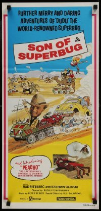 4k896 RETURN OF SUPERBUG Aust daybill 1980 Peacho, the electronic crab w/supernatural powers!