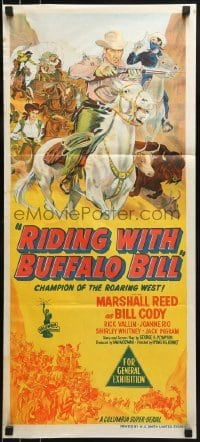 4k897 RIDING WITH BUFFALO BILL Aust daybill 1954 Columbia serial starring hero who really lived!