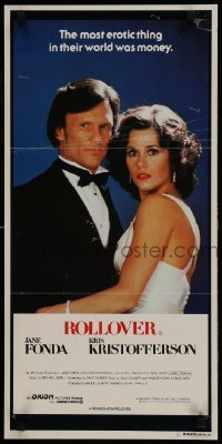 4k906 ROLLOVER Aust daybill 1981 great close up of sexy Jane Fonda & Kris Kristofferson in tux!
