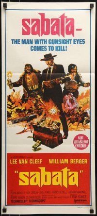 4k912 SABATA Aust daybill 1970 Lee Van Cleef, the man with gunsight eyes comes to kill!