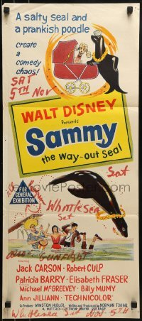 4k915 SAMMY Aust daybill 1962 artwork of Disney's Way Out Seal and a prankish poodle!