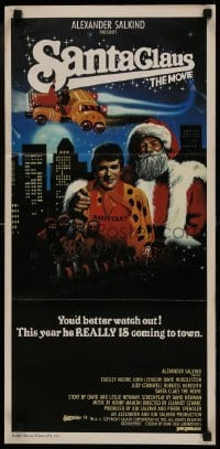 4k916 SANTA CLAUS THE MOVIE Aust daybill 1985 artwork of Dudley Moore with Santa Claus & John Lithgow!