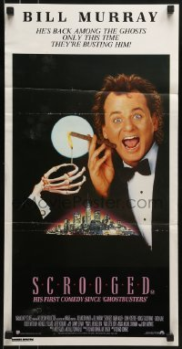4k918 SCROOGED Aust daybill 1988 great image of skeleton hand lighting Bill Murray's cigar!