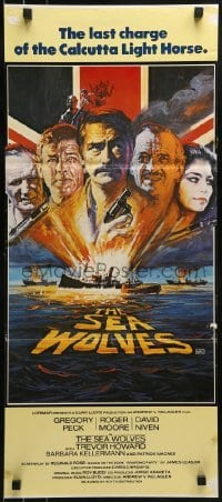 4k919 SEA WOLVES Aust daybill 1980 cool art of Gregory Peck, Roger Moore & David Niven!