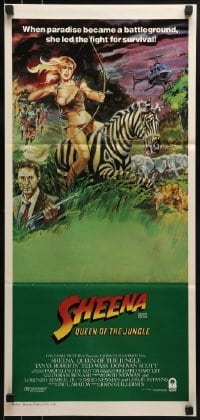 4k920 SHEENA Aust daybill 1984 art of sexy Tanya Roberts with bow & arrows riding zebra in Africa!