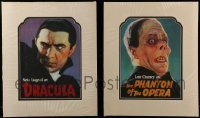 4m036 LOT OF 2 HORROR POSTAGE STAMP 14X17 SPECIAL POSTERS 1997 Dracula & Phantom of the Opera!