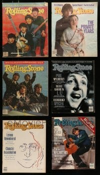 4m237 LOT OF 6 ROLLING STONE MAGAZINES WITH BEATLES COVERS 1980s-1990s with 2 anniversary issues!